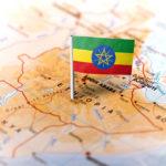 Ethiopia Flag on Map