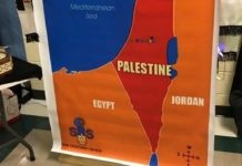"""The map featuring """"Palestine"""" that was on display at a Georgia middle school's multicultural event."""