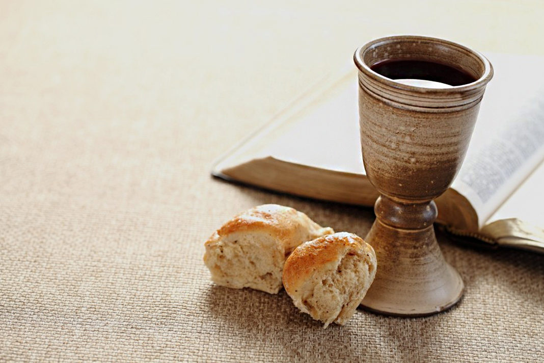 communion wine and bread with bidle