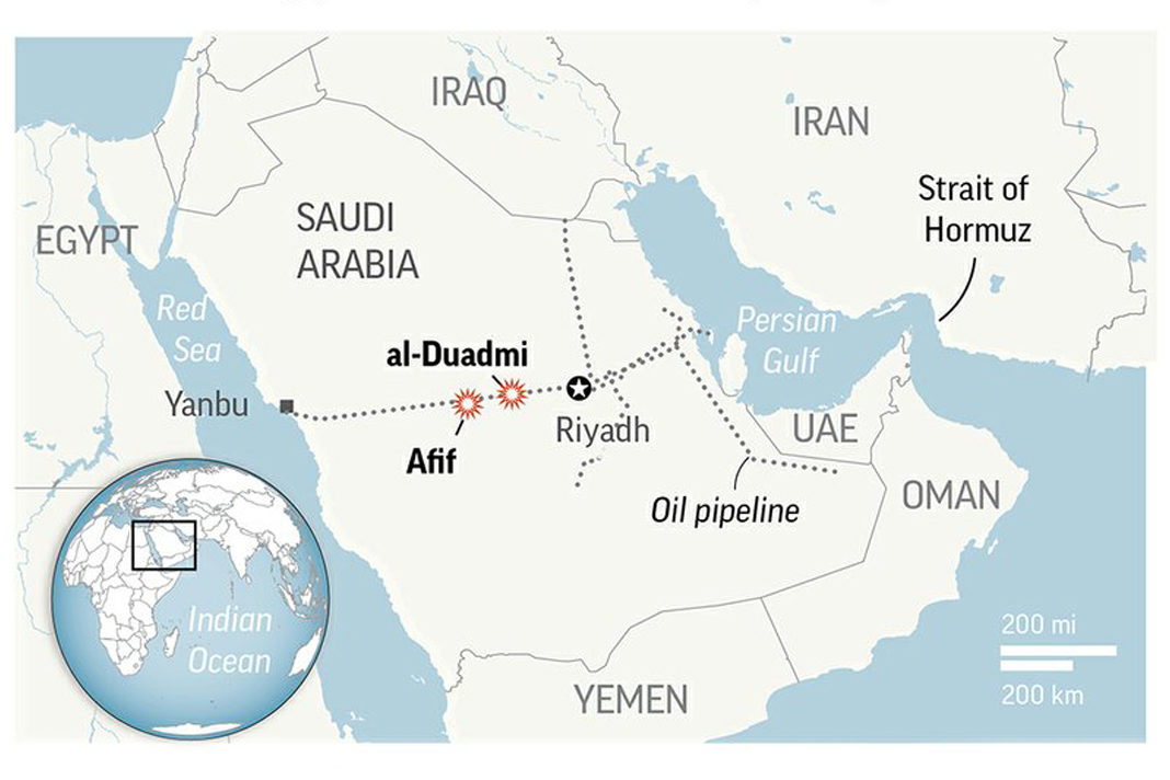 Saudis say drones targeted the East-West oil pipeline as Yemeni rebels claim responsibility. (AP)