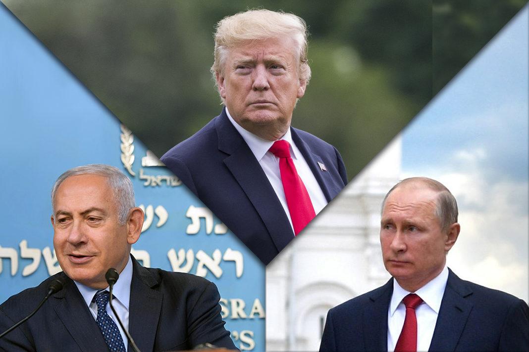 US President Donald Trump, Russian President Vladimir Putin, and Prime Minister of Israel Benjamin Netanyahu