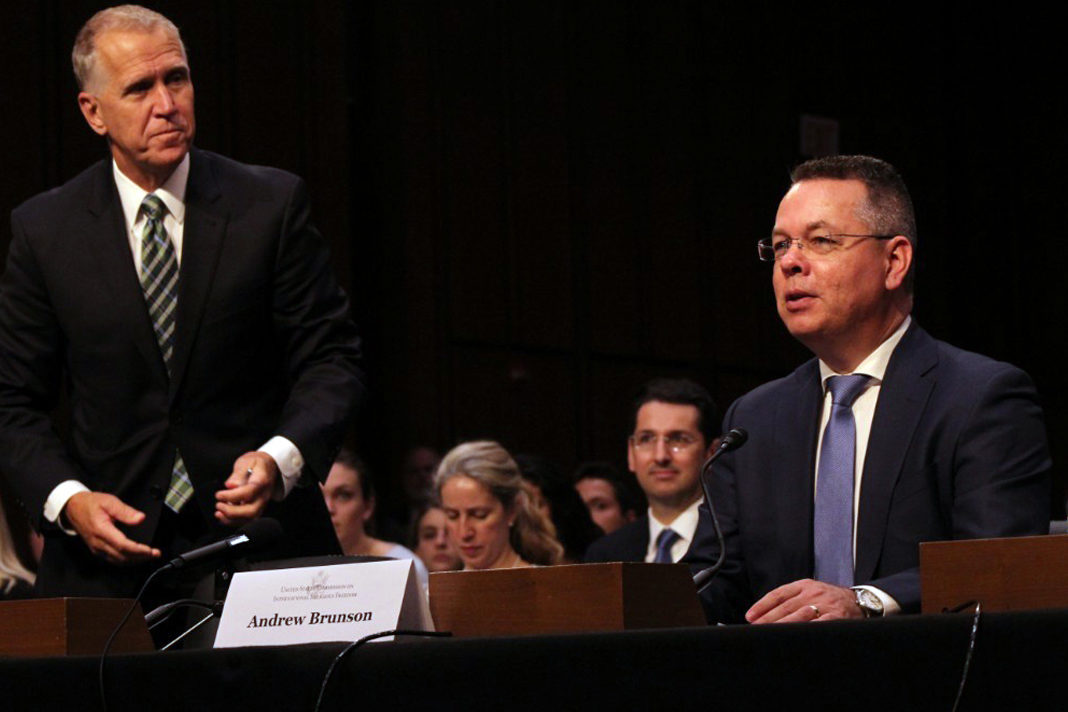 Andrew Brunson speaks at a U.S. Commission on International Religious Freedom hearing on religious freedom issues in Turkey at the Hart Senate Office Building in Washington, D.C. on June 27, 2019. Standing behind him is Republican North Carolina Sen. Thom Tillis. | The Christian Post
