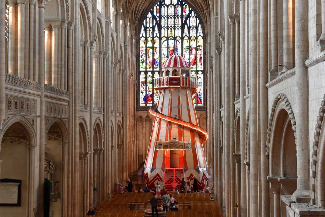 The slide is in the center of the cathedral. / Norwich Cathedral