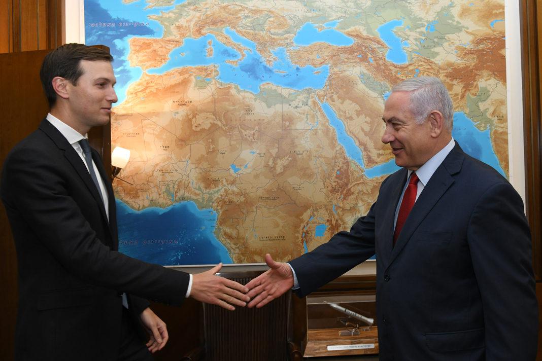 Prime Minister Netanyahu greets Trump adviser Jared Kusnher, July 31, 2019. (GPO/Kobi Gideon)
