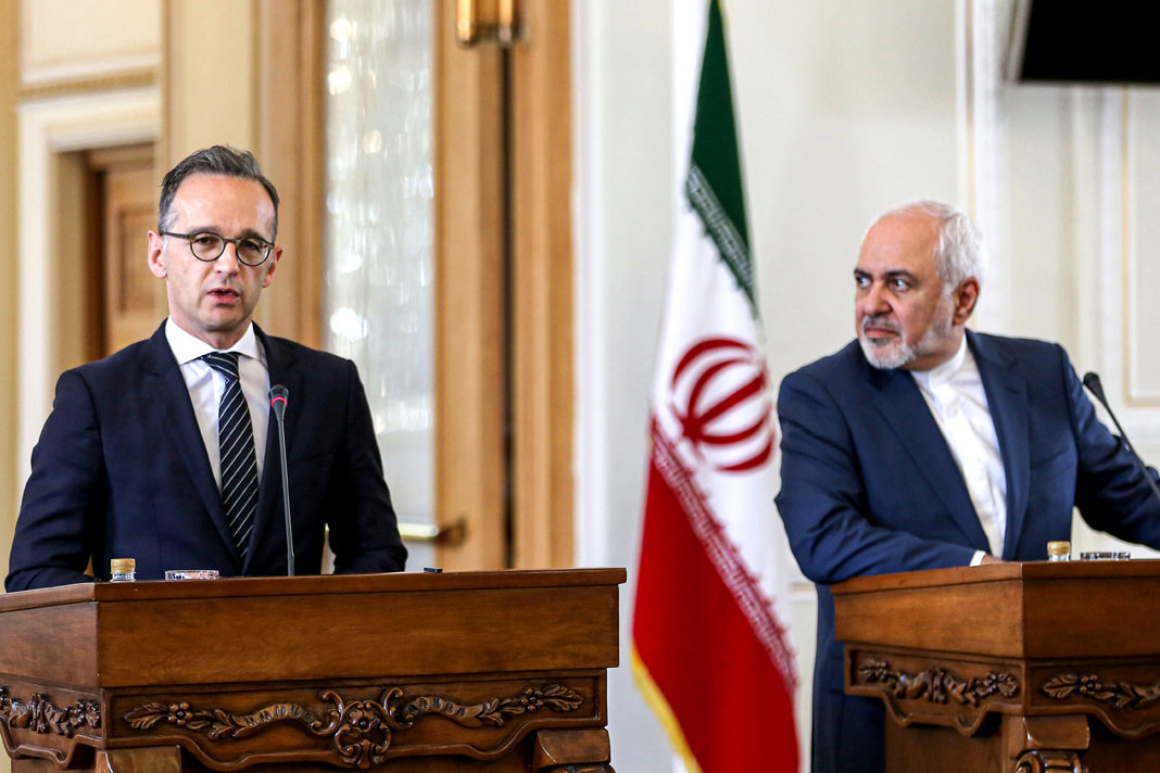 :Iran's Foreign Minister Mohammad Javad Zarif and his German counterpart Heiko Maas at a press conference in Tehran on Monday (AFP)