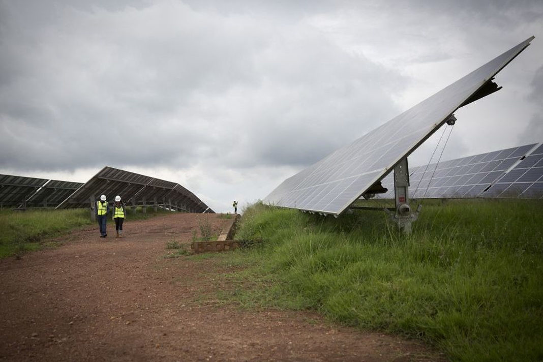 The solar field in Rwanda, pictured here on February 17, 2017, has 28,360 panels which provide 7.8 megawatts of electricity at peak production. (Miriam Alster/FLASH90)