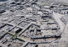 Aerial photograph of recently excavated 5,000-year-Old Canaanite City (Assaf Peretz/ Courtesy Israel Antiques Authority)