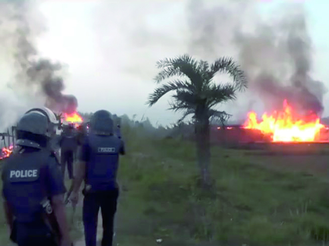 Police in riot gear evicted the desperately poor community of Santal people in Gaibandha District, Bangladesh on 6 November 2016. Helped by local Muslims, the police set fire to the wooden shacks in which the Christians lived