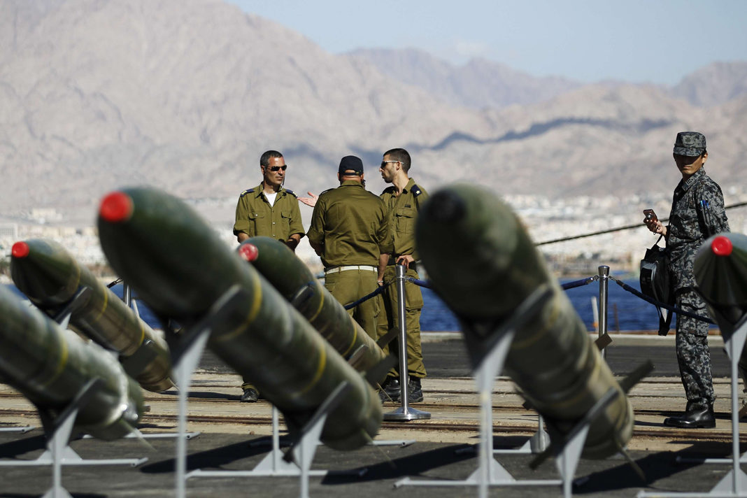 Israeli troops display M302 missile display at a naval base in Eilat city on the Red Sea coast