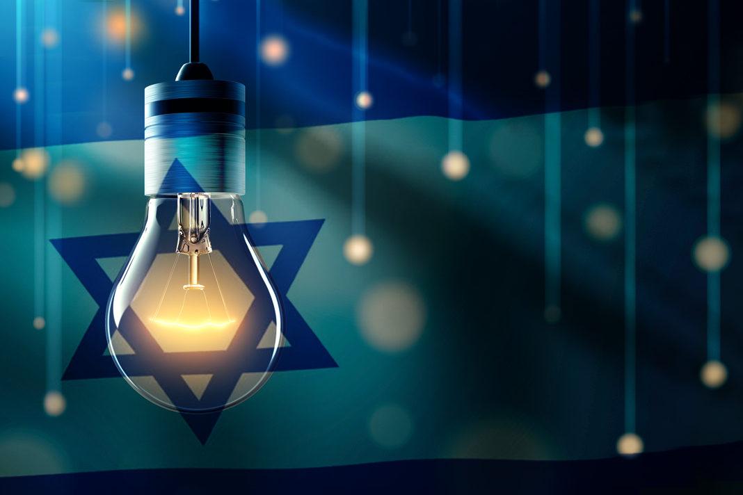 light bulb with Israel Flag