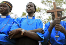 A 2010 file photo shows Christians praying in Sudan