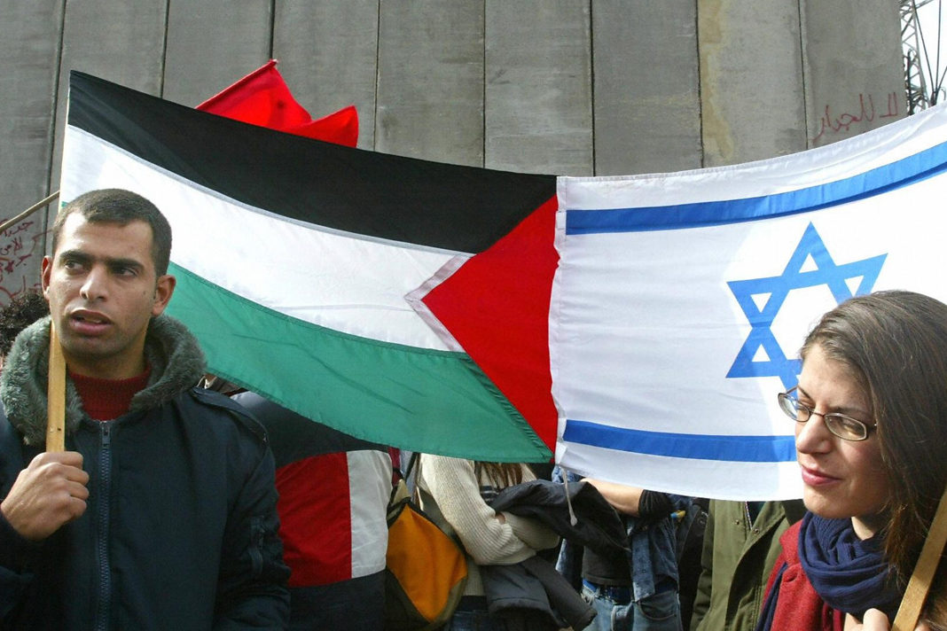 Palestinian flag and Israel Flag