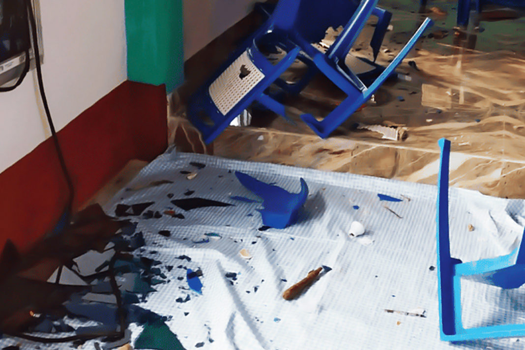 The interior of the community hall after the ransack Telegraph picture