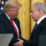 President Donald J. Trump delivers remarks with Israeli Prime Minister Benjamin Netanyahu Tuesday, Jan. 28, 2020, in the East Room of the White House to unveil details of the Trump administration's Middle East Peace Plan.