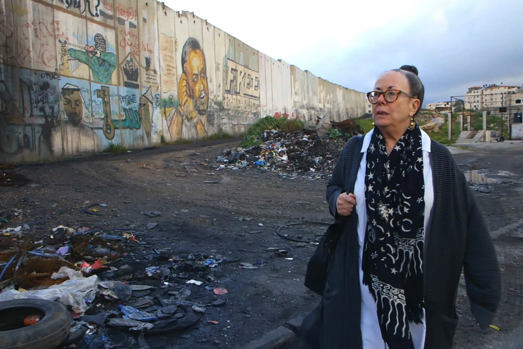 Ofra Bloch visits the occupied West Bank in a scene from 'Afterward.' Image courtesy of Obscured Pictures.