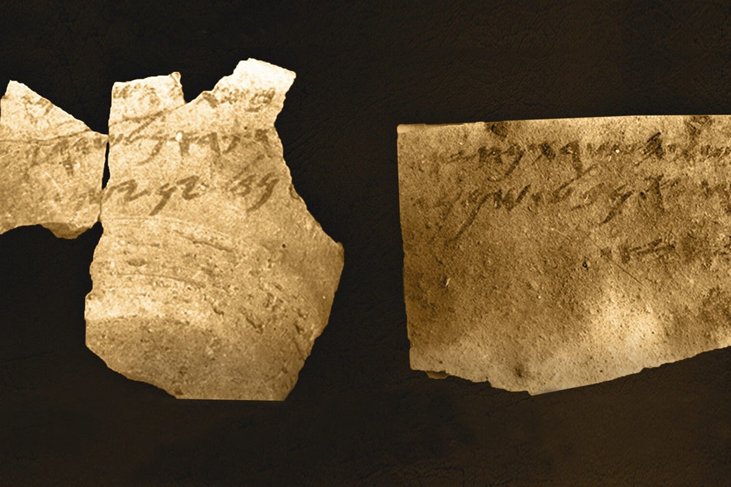 The Samaria ostraca, clay tablets inscribed with parts of the Old Testament or Torah written in Hebrew. Photo courtesy of Tel Aviv University.