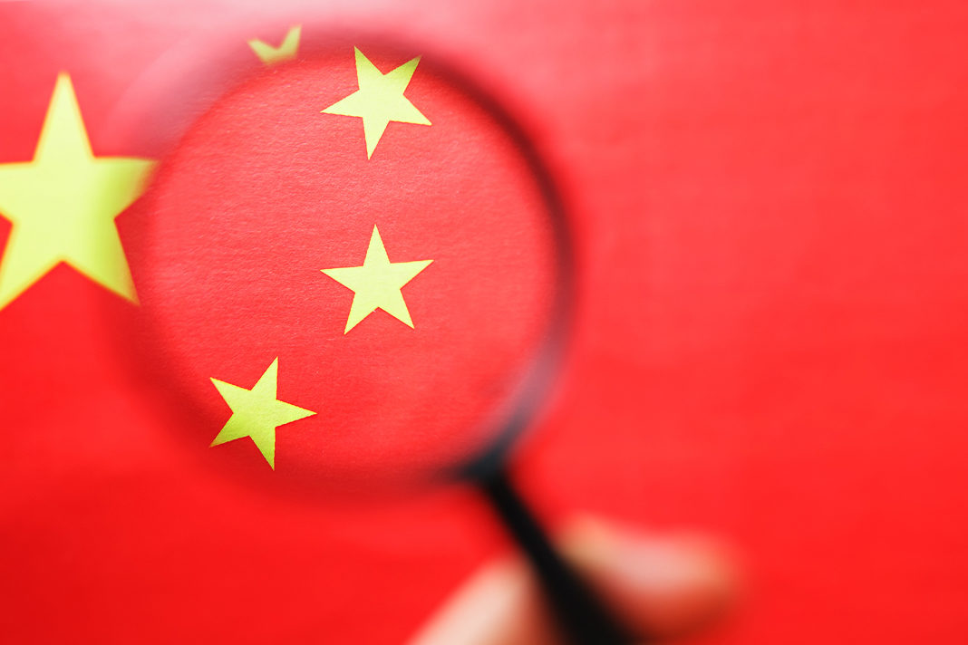China flag with magnifying glass