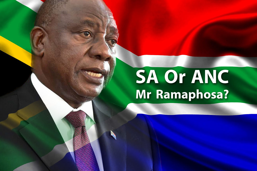 President of South Africa Cyril Ramaphosa with South African flag