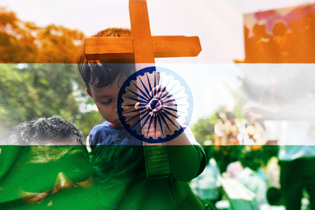Flag of India with father and son
