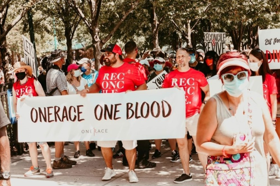The OneRace March on Atlanta gets underway from Centennial Olympic Park to the State Capitol on June 19, 2020. (Courtesy of OneRace / Photo Credit: Melissa Poloncarz)