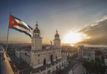 Cuba Flag and church