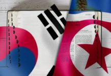 South Korea and North Korea flag and Bible