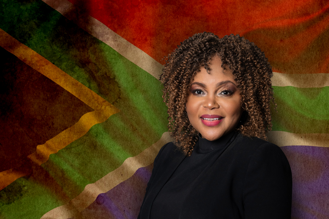south African flag and Pearl Kupe