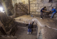 Israel Antiquities Authority archaeologists work at an excavation site. (AP Photo/Ariel Schalit)