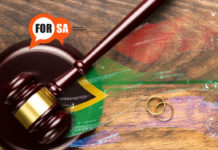 marriage officers, rings with Gavel and South African flag