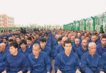 An official Chinese government social media post from April 2017 shows Uyghur detainees in an internment camp in Hotan Prefecture, located in the western Xinjiang province.