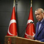 Turkey's President Recep Tayyip Erdogan speaks to the media. (Yasin Bulbul/Presidential Press Service via AP)
