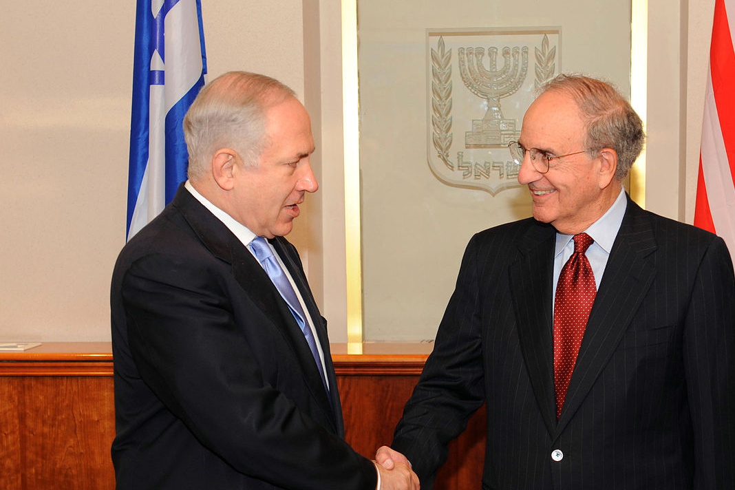 U.S. Special Envoy to the Middle East George J. Mitchell meeting with Israeli Prime Minister Benjamin Netanyahu at the Prime Minister Office in Jerusalem October 30, 2009. [State Department photo by Matty Stern U.S. Embassy Tel Aviv / Public Domain]