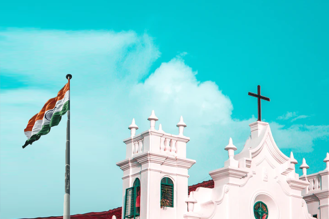 Indian flag and church