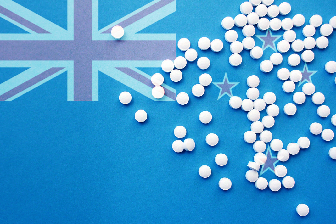 Pills and New Zealand Flag