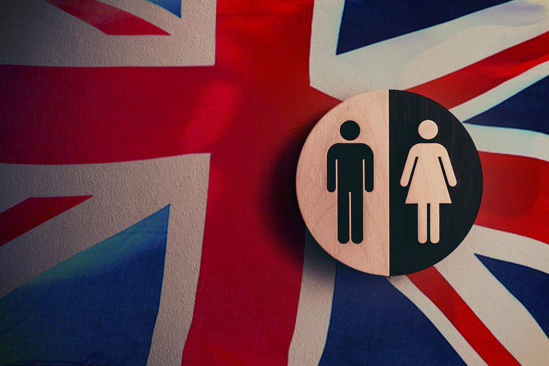 UK Flag and Toilet sign