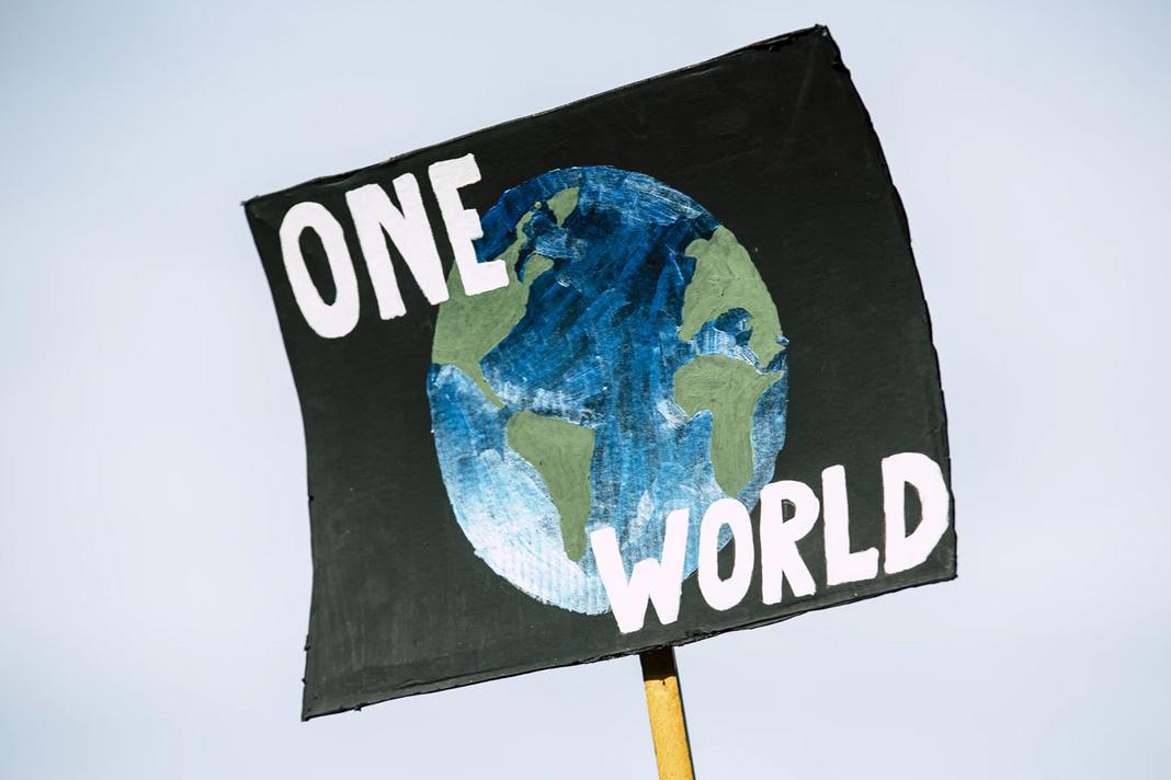ONE WORLD. Global climate change protest demonstration strike