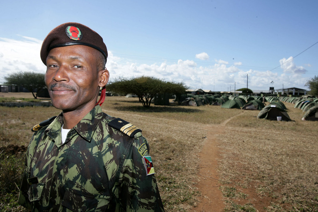 """Colonel Daniel """"Hugo"""" Chabongo, the chief training operations officer for the Armed Forces for the Defense of Mozambique (FADM) Headquarters General Staff, in Moamba, Mozambique in 2010. Chabongo coordinated an annual U.S.-Mozambique field training exercise. Photo by U.S. Government/Creative Commons."""