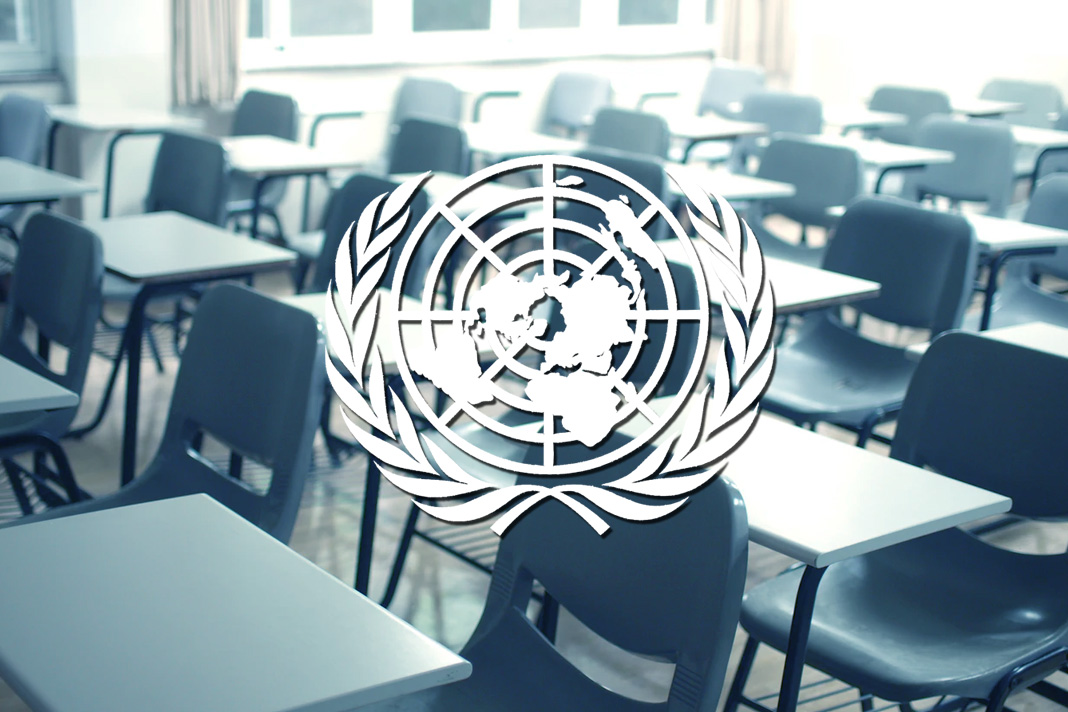 UN Flag and Classroom