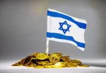 Money and Israel flag