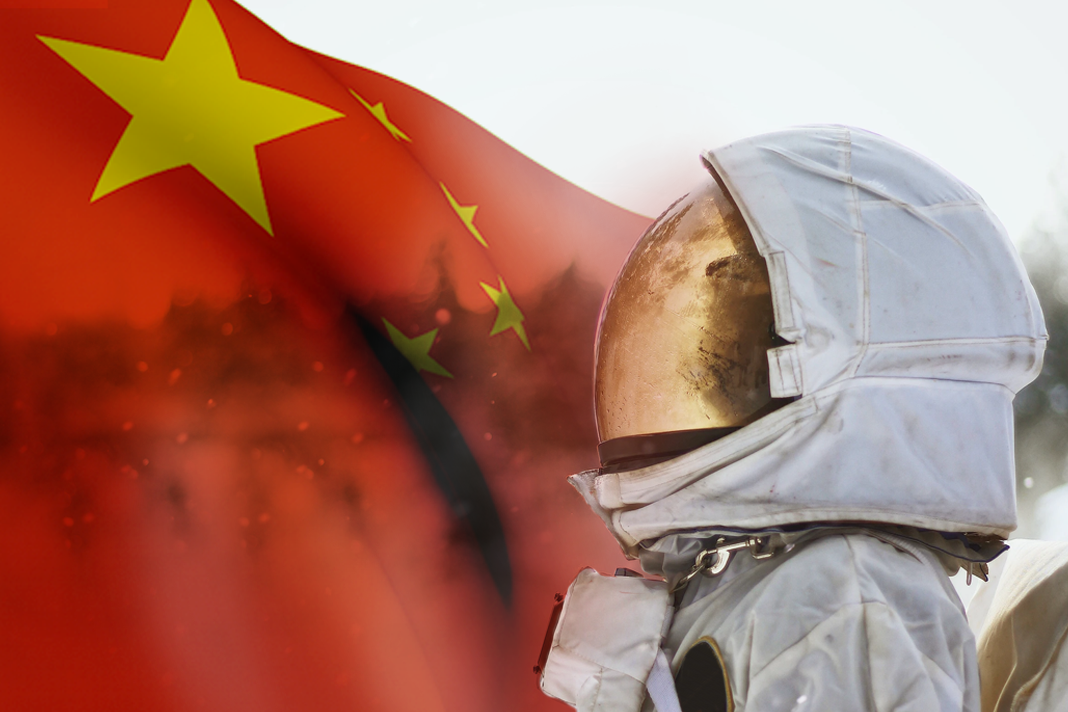 Chinese Flag and Astronaut