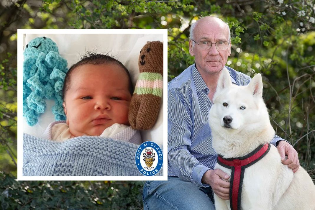 Terry Walsh and his husky Hel found the newborn in a park in Kings Norton, Birmingham. Credit - BPM and Baby George. Credit - West Midlands Police.