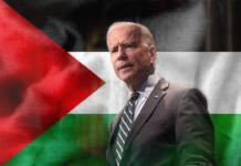 President Joe Biden and Palestine Flag