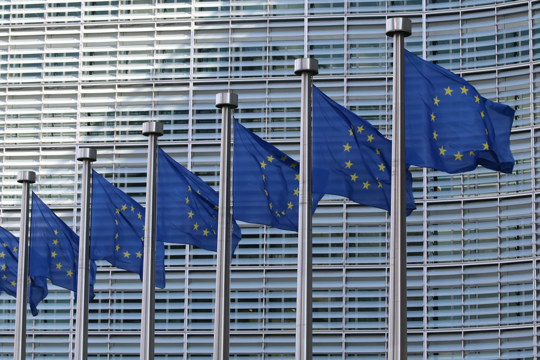 EU flags at the European Commission Berlaymont building