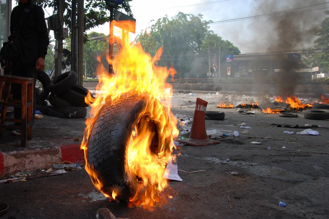 Tires burning