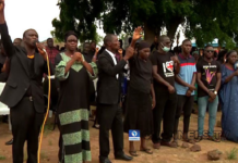 Parents of the abducted Bethel Baptist School students gathered to pray for their release. / Channels TV, screenshot from Youtube.