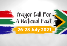 South African Flag and prayer call for a national fast