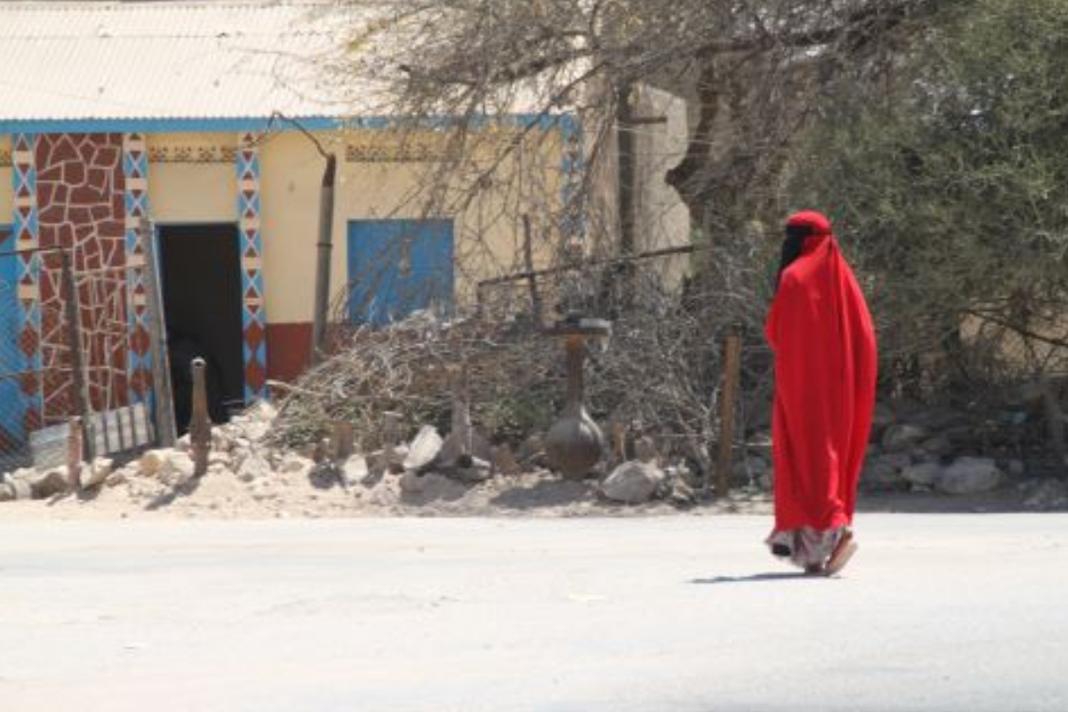 Muslim woman walking down street
