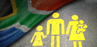 Family Icon with South African Flag