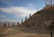 Afghanistan Soldiers walking up Stairs
